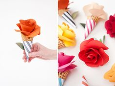 """(DIY Paper Flower Cone Bouquets) These would look cute on the gift table. They would also look cute as a garland. To make the actual rose you need to click on the word """"here"""" under step four. #flower #paper #papercrafts"""
