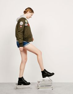 BSK patch bomber jacket with patches - Back to School - Bershka Ukraine