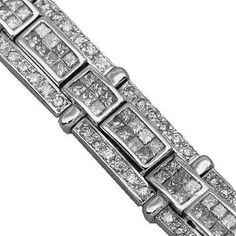 14K White Gold Mens Diamond Bracelet 11.51 Ctw