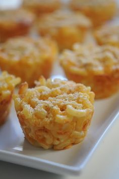 Mac n cheese baked in muffin tin for individual servings. Make ahead, refrigerate, then warm before serving.