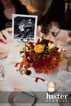 add table number to photos or take couple pixs with you holding the table number