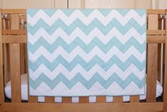 Aqua Blue Chevron Blanket Quilt by TenCowQuilts on Etsy, $85.00