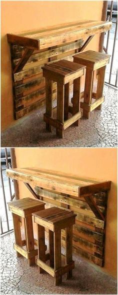 Look at this pallet project. A wall mounted bar and stools. All DIY. All pallets.#affiliatelink