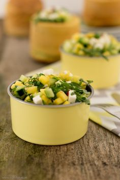 Mango-Gurken-Salat mit Rucola und Feta, Mango-Gurken-Salat Rezept