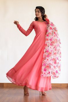 Poppy Peach Georgette Anarkali with Organza Floral Dupatta Indian Gowns Dresses, Indian Fashion Dresses, Dress Indian Style, Indian Designer Outfits, Indian Outfits, Churidar Designs, Kurti Neck Designs, Kurta Designs Women, Kurti Designs Party Wear