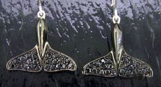 STEVEN DOUGLAS SGE028S - STERLING SILVER AND RHODIUM WHALE TAIL EARRINGS WITH BLACK SAPPHIRES $725.00