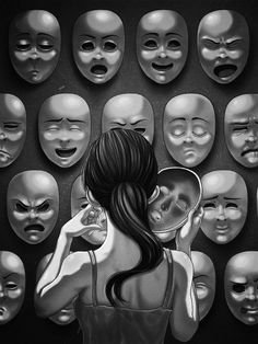 Viele verschiedene Gesichtsausdrücke, viele Facetten