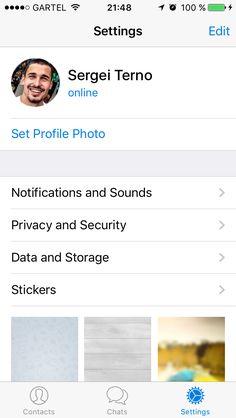 Personal screen #app #settings #personal #profile Telegram App, Profile Photo, Ios