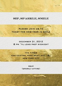 """Evergreen Stripes - Gold"" Invitation, by kate spade new york, Paperless Post  @Whitney Pritchett Here it is!"