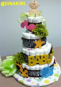 4-tiered diaper cake for baby shower
