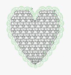 'Lace Crochet Best Pattern 148. Part 2.' Heart crochet chart.