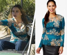 Modern Family: Season 7 Episode 11 Gloria's Teal Print Cut Out Top