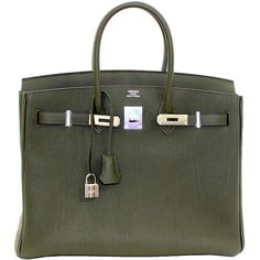 Preowned Hermes Birkin Bag In Vert Olive Green Togo Leather 35 Cm Size ($16,999) ❤ liked on Polyvore featuring bags, handbags, purses, hermes, green, hermes handbags, olive green purse, leather purse, genuine leather purse and olive green handbag