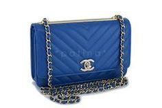 e7cbb538dc81 NIB 19C Chanel Blue Chevron Trendy CC WOC Wallet on Chain Flap Bag GHW
