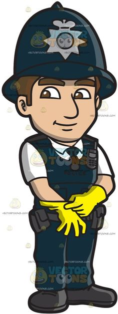A British Male Traffic Officer :  A man with brown hair wearing a midnight blue bowler hat with gray badge white short sleeve shirt with collar black necktie under a midnight blue vest gray utility belt midnight blue pants black shoes smirks while putting on a pair of yellow gloves  The post A British Male Traffic Officer appeared first on VectorToons.com.   #clipart #vector #cartoon