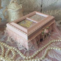 Shabby chic cottage pink jewelry music box by lilhoneysshoppe