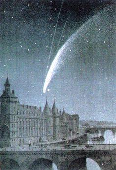 (C/1858L1) The Paris city hall and comet