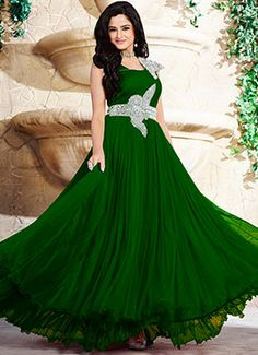 81b1639f4ee Green Asmita Sood Layered Anarkali Gown