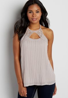 knit tank with lace and crinkled chiffon front