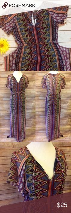 "NWT Boho Tribal Print Maxi Brightly colored bohemian style floor length maxi dress with sleeves, keyhole back, and gathering at waist. Perfect for summer weather ☀️ Has slits at bottom of dress (as showing in picture). Slightly see through on back and from knee down. Bust: 40"" Waist: 28"" Shoulder to hem: 56"" Patrons Of Peace Dresses Maxi"