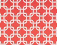 Fabric for curtains. Coral and White.