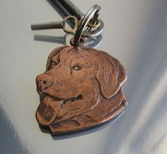 Solid bronze Retriever dog handmade designer keyring or dog tag by JewellerybyCharles, £20.00