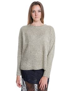 +Stretchy fuzzy gold metallic sweater top