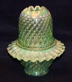 Fenton Green Opalescent Swirl Hobnail Fairy Lamp