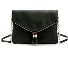 Black Tassel Detail Bag ($20) ❤ liked on Polyvore featuring bags, handbags, tassel purse, fringe tassel bag, tassel handbag and tassel bag