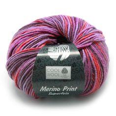 Lana Grossa Cool Wool Print -      Naalddikte: 3-3,5         Lengte: 160 m     Trui maat 38: ca. 8 bol(len)        Samenstelling: 100% Merino wol