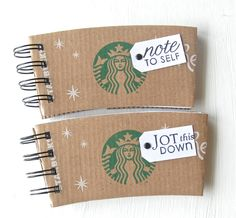STARBUCKS SPIRAL NOTEPAD made out of Coffee Sleeves