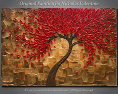 Grandes 24 x 36x1.5pintura Original de árbol de flor