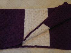 Queen/Full Comforer Size - 6.5 x 7.5 feet -Basket Weave Blanket - Crochet Purple and Aran Afghan  Etsy listing https://www.etsy.com/listing/201005545/queenfull-comforer-size-65-x-75-feet?ref=shop_home_active_11 #handmade #inselly #crochetafghan #crochetblanket #basketweave #homedecor