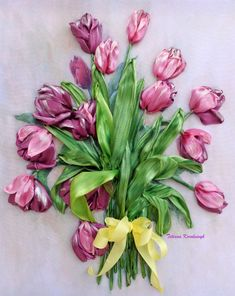 Wonderful Ribbon Embroidery Flowers by Hand Ideas. Enchanting Ribbon Embroidery Flowers by Hand Ideas. Floral Ribbon, Ribbon Art, Ribbon Crafts, Silk Ribbon Embroidery, Hand Embroidery Patterns, Embroidery Designs, Embroidery 3d, Embroidery For Beginners, Craft Patterns