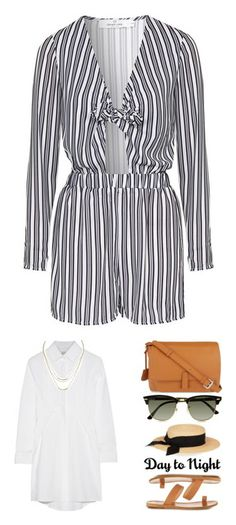"""Summer Outfits"" by meganthompson-v ❤ liked on Polyvore featuring jumpsuits, rompers, playsuits, romper, grey, playsuit jumpsuit, striped jumpsuit, long-sleeve rompers, topshop and topshop romper"