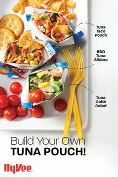 Here's a healthier take on a walking taco! Use a tuna pouch to fill with your favorite flavor combinations. We love these for packing lunches for work or for the kids. Get the recipe and find everything you need at Hy-Vee.com.