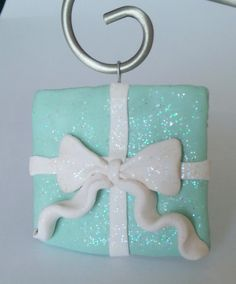 Handcrafted Turquoise and White Sparkly Present Ornament - Holiday Decor - Polymer Clay