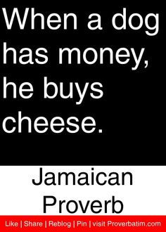 When a dog has money, he buys cheese. - Jamaican Proverb #proverbs #quotes