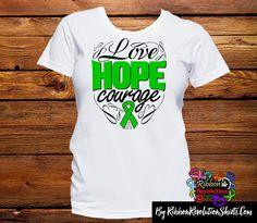 Inktastic Green Ribbon Awareness Long Sleeve T-Shirt Organ Donation Depression