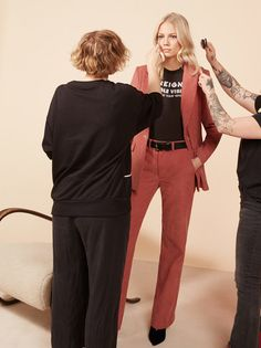 Wear the pants. This is a high rise pant with center front closure, front pockets and an easy fitting leg.