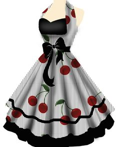 Pinup / Rockabilly Dress, wow I so want this dress! Would make an awesome cute apron! Mode Rockabilly, Rockabilly Fashion, Retro Fashion, Vintage Fashion, Rockabilly Dresses, Gothic Fashion, Rockabilly Clothing, Lolita Fashion, 50s Dresses