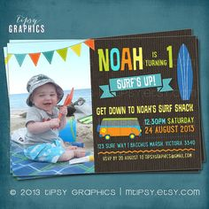 Surf's Up.  Fun Photo Beach Surf Birthday Party by MTipsy on Etsy, $16.00