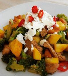 Kip met roerbakgroenten. Koolhydraatarm, avondeten, groenten