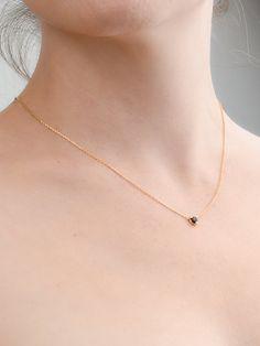 Tiny Black Zirconia Necklace Sterling Silver & by lunaijewelry