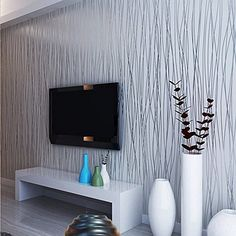 QIHANG Non-woven Classic Flocking Plain Stripe Modern Fashion Wallpaper Wall Paper Roll for Living Room Bedroom Silver&gray Color Wallpaper Roll 0.53m10m=5.3㎡