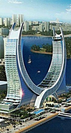 Katara tower lusail marina, Qatar Unusual Buildings, Interesting Buildings, Amazing Buildings, Modern Buildings, Contemporary Buildings, Future Buildings, Futuristic Architecture, Beautiful Architecture, Art And Architecture