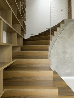 *Stairway and bookshelves* - loft in Prague by A1 Architects