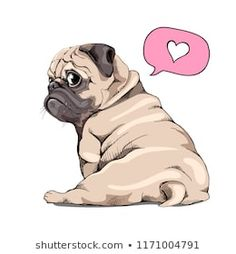 Humor card, t-shirt composition, hand drawn style prin… Adorable beige puppy Pug. Humor card, t-shirt composition, hand drawn style print. Cute Pug Puppies, Cute Dogs, Black Pug Puppies, Wallpaper Pug, Mops Tattoo, Animal Drawings, Cute Drawings, Pug Tattoo, Baby Pugs