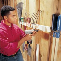 Build a PVC pipe tool rack  Build this PVC rack to store your tools on the wall. Use a jigsaw to cut a 1-1/4-in.-wide notch down the length of a 2-in.-dia. PVC pipe. Cut several 3-1/2-in.-long sections with a hacksaw or miter saw, and drill two 1/8-in. holes behind the notch. Use 1-1/4-in. drywall screws to attach these pieces to a 2x4 screwed to the wall.