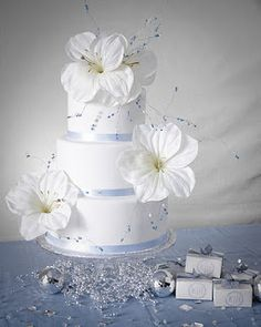Blue Themed Wedding Cake (maybe with darker blue ribbons?)
